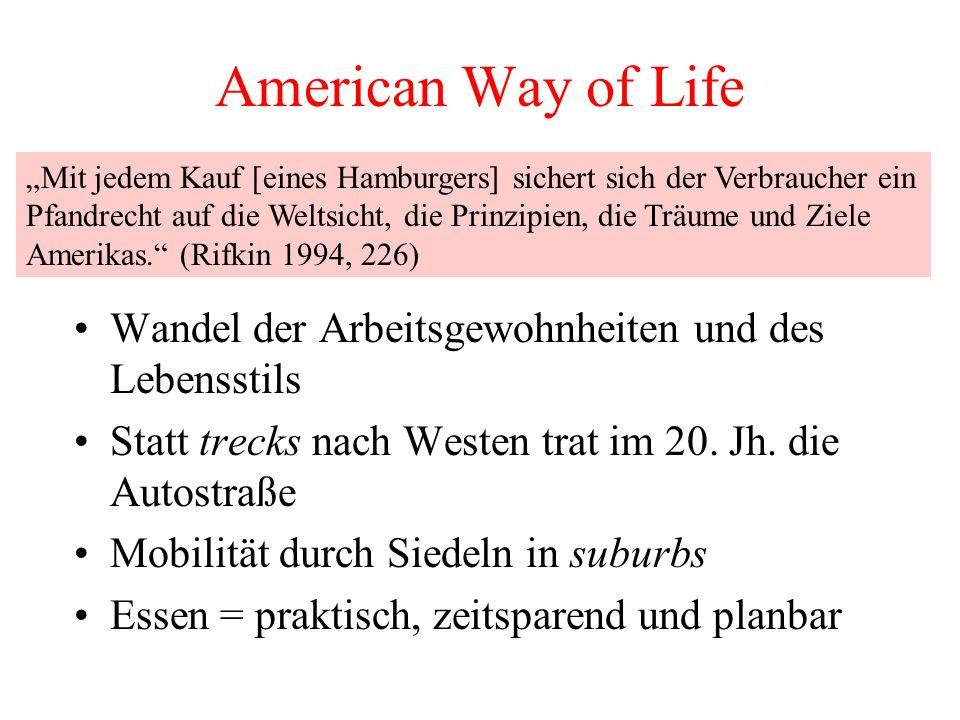 """American Way of Life""""Mit jedem Kauf [eines Hamburgers] sichert sich der Verbraucher ein."""